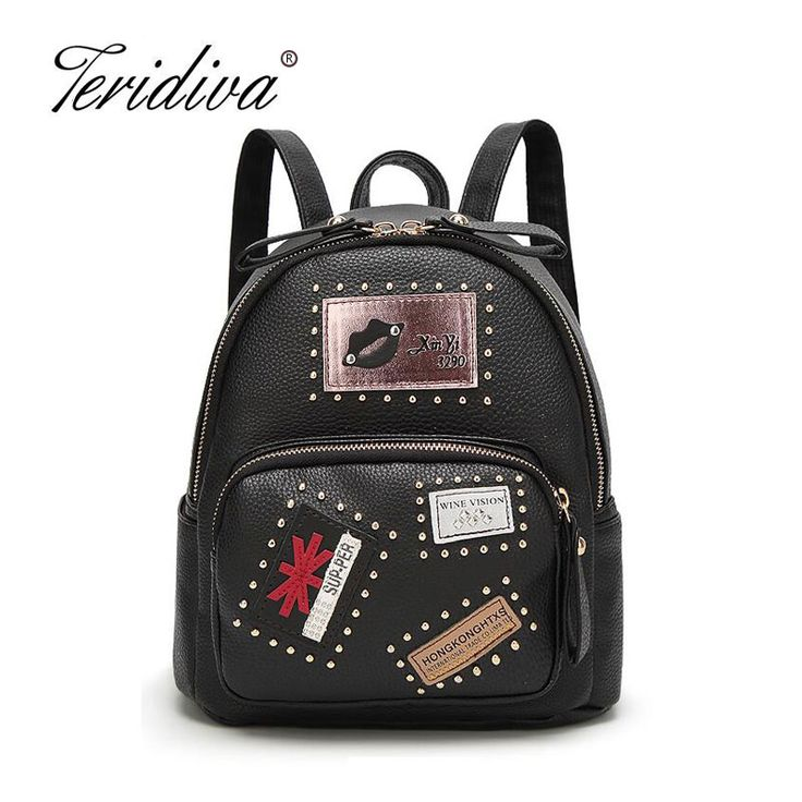 Teridiva New Fashion Women PU Leather Motorcycle Backpack Punk Style Rivet Small Women Backpacks For Teenage Girl Travel Bags #Affiliate