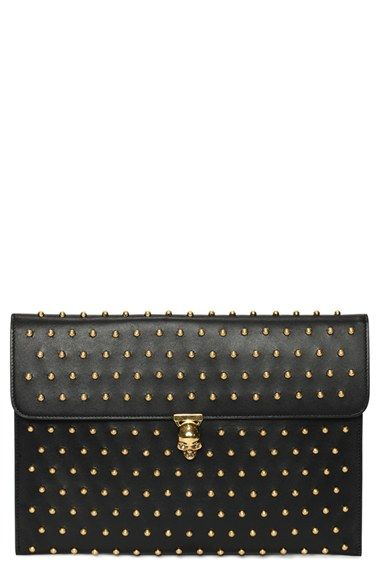 Free shipping and returns on Alexander McQueen 'Skull' Studded Calfskin Envelope Clutch at Nordstrom.com. Polished dome studs punctuate the clean, modern silhouette of a calfskin envelope clutch fronted with an iconic McQueen skull.
