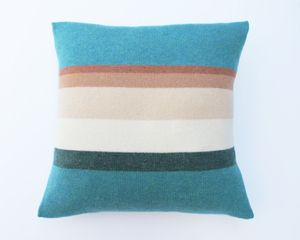 Image of CUSHION - SEA BLUE/COLOUR STRIPE MADE IN SCOTLAND LUCY DONNELL.CO.UK