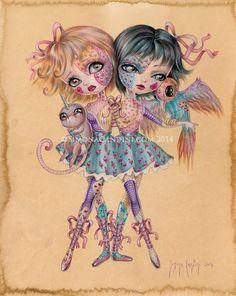 Piquée LIMITED EDITION signé numéroté Simona Candini lowbrow pop surréaliste signees gros yeux poupées de jumeaux siamois sœurs effrayant mignon