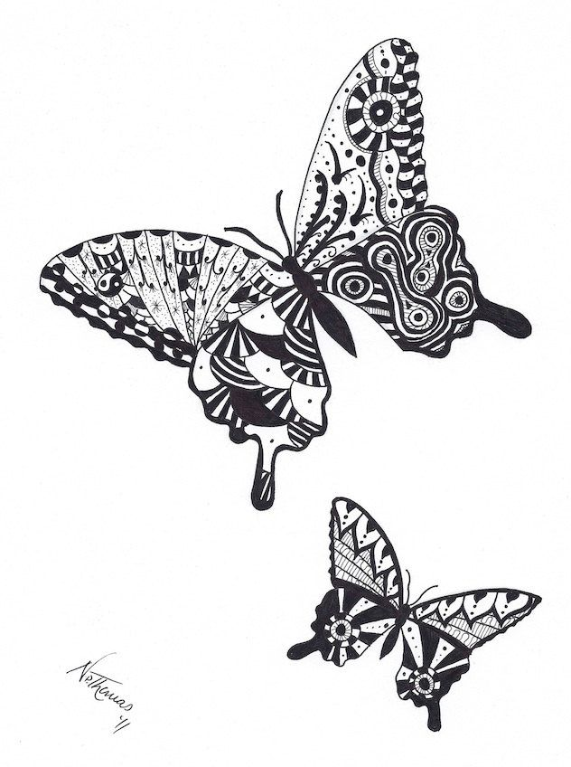 Zentangle, Butterflies, Butterfly, bedroom, pili pala, valentine. £11.99, via Etsy.