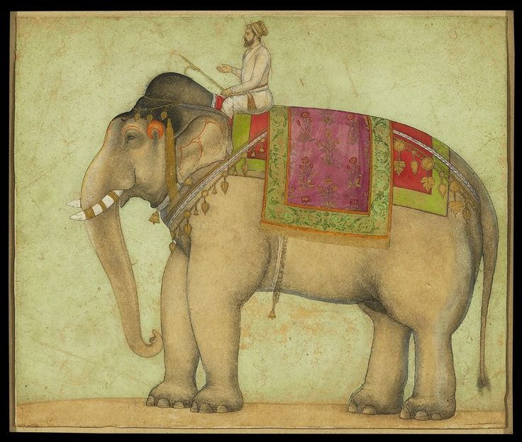 Portrait of a royal elephant with mahout, .Mughal. ca 1660