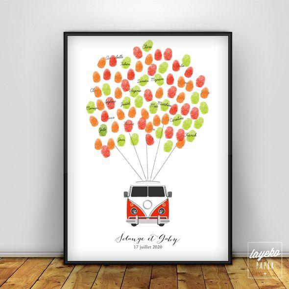 Affihe arbre à empreinte pour votre mariage avec un joli Combi van pour un coté rétro.