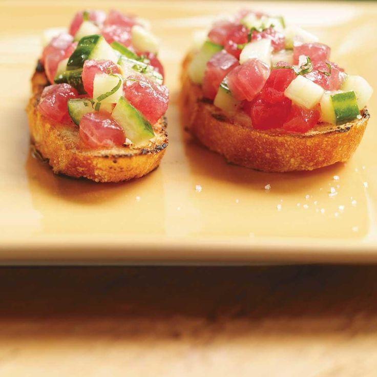 Bruschetta au concombre et au thon rouge | Ricardo