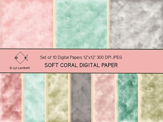 Digital paper, watercolour coral and mint, commercial use scrapbook paper