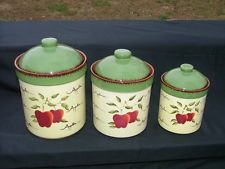 set of 3 kitchen canisters apple orchard collection home home interior dishes ebay