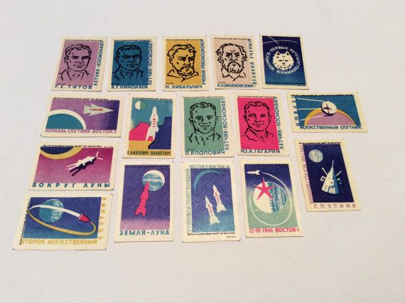 #RARE Big set 16 #Vintage #USSR #Russian #stickers by PostcardWatchUSSR #Cigarette #liners #Gagarin #Space #Moon #Collectibles #Sale #ETSY #Cosmonauts #Laika #Pictures #history of #world #science #anniversary #Match #labels #rocket space #propaganda