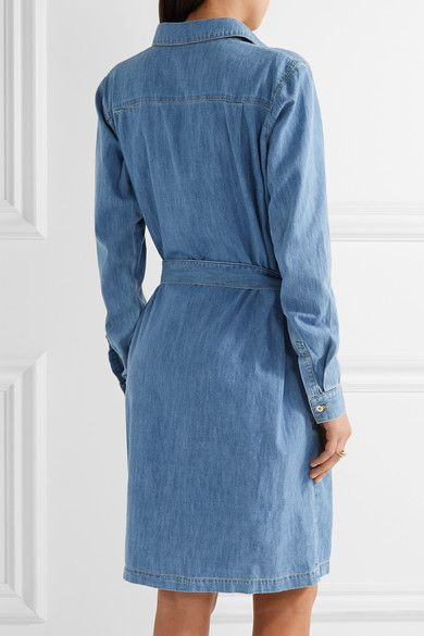 KENZO - Embroidered Washed-denim Shirt Dress - Mid denim - FR42