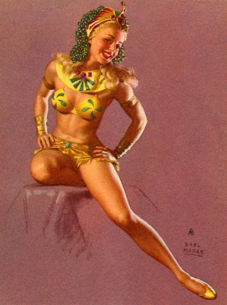 "Earl Moran - Marilyn Monroe Modeling - ""Little Egypt""  This pinup of Marilyn is so like her. Earl Moran did a great job in this painting bring out the likeness of Marilyn."