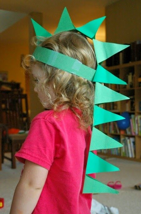 Paper Dinosaur Hat Kids Themed Party Craft Idea