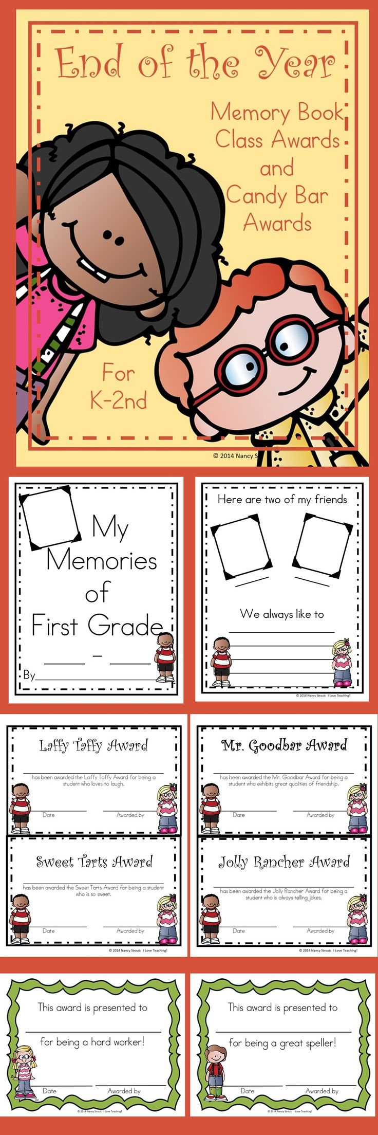 End of the year: End of the year memory books are a fun way to wrap up the year! I have also included candy bar awards and classroom awards.