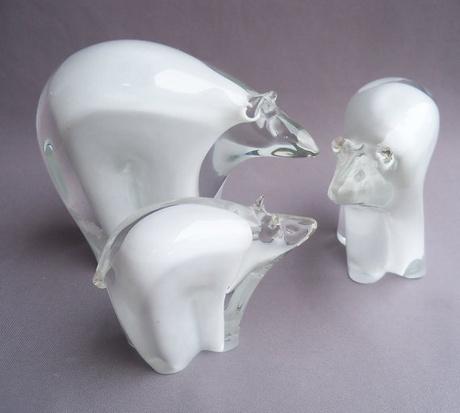 Shoply.com -Hand Blown Art Glass Polar Bear Family. Only $120.00
