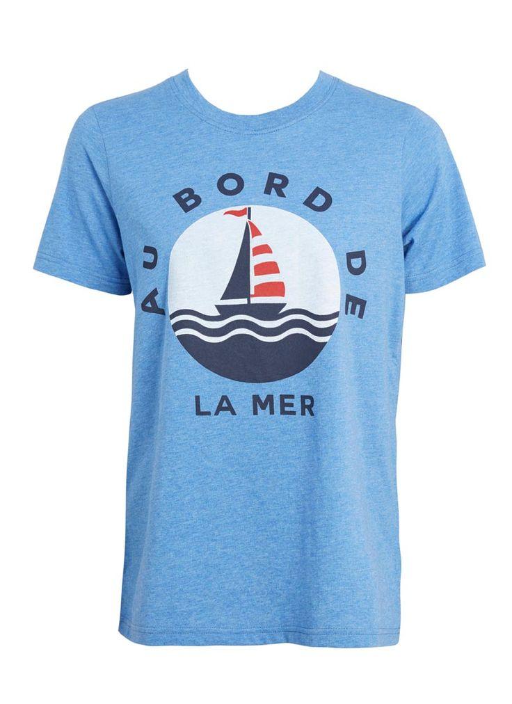 Frankie French Phrase Nautical T Shirt | Blue Bord De La Mer Tee | Joanie