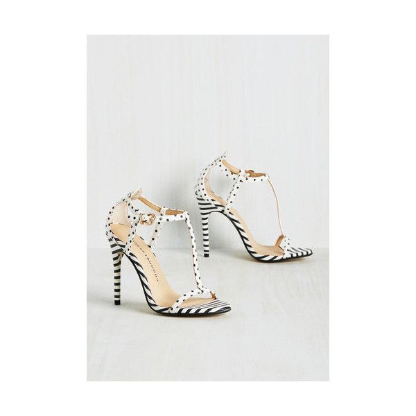 Nautical Joyful Companion Heel (235 PEN) ❤ liked on Polyvore featuring shoes, heels, t-strap heel, white, high heel stilettos, stilettos shoes, vegan shoes, polka dot shoes and white strap shoes