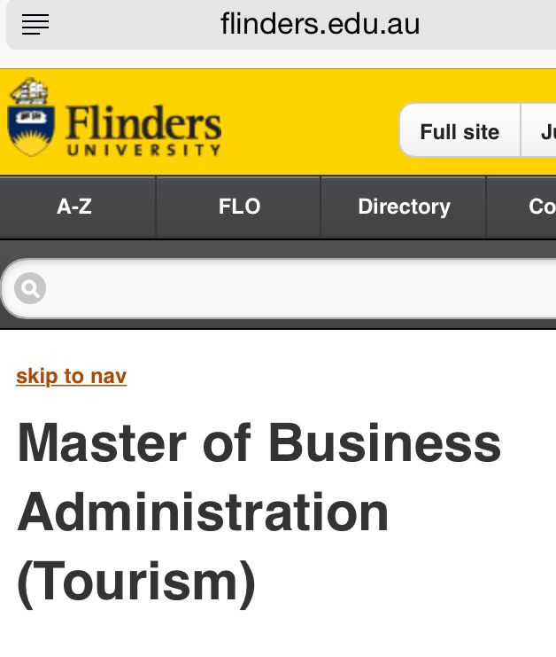 Master of Business Administration (Tourism)
