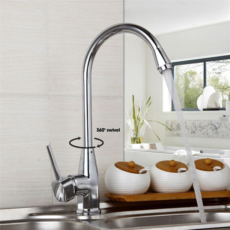 US Contemporary Superior in Quality Kitchen Faucet Chrome Ceramic Plate Spool Hot Cold Water Mixer Excellent  Kitchen Faucet