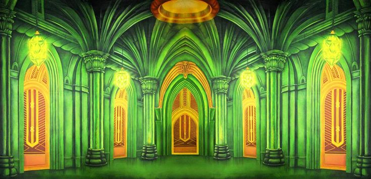 *Emerald City Great Hall - B Professional Scenic Backdrop - An alternate design to our one-of-a-kind stunning backdrop, created specifically for our #wizardofoz and #thewiz collections. With stunning emerald greens and golden hallways, this backdrop features the immersive Emerald City great hall antechamber that leads into the heart of the Emerald City and to the Great Oz himself! #handpainted #oz #emeraldcity #theatricalrentals #parties #events #backdrops #theatreworld