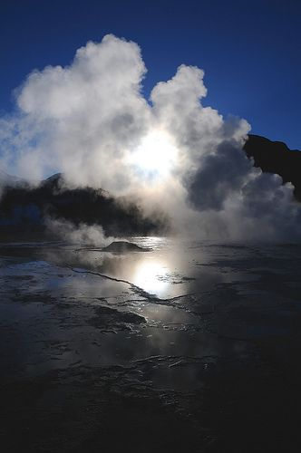 El Tatio Geyser field (near San Pedro de #Atacama), #Chile. Have a Look at our guide to Atacama: http://www.pura-aventura.com/guide-to/atacama-desert