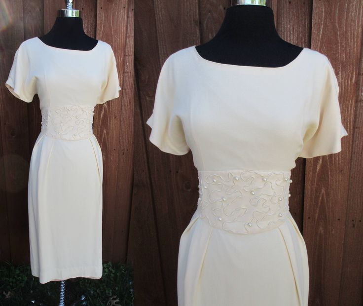 Ivory Pearl Waist Dress Short Sleeve Banded Waist Wiggle Dress Garden Party Summer Cocktail Dress Sz L by GeekGirlRetro on Etsy