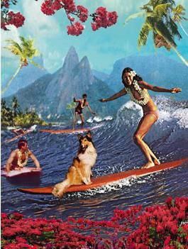 Vintage Hawaiian poster - love the way they took Lassie along with them.  Good girl, Lassie!