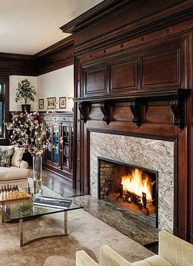 wood paneling fireplace inside 190 million greenwich connecticut home
