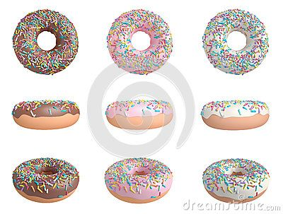 3D Donuts In Chocolate, Strawberry And Vanilla - Download From Over 56 Million High Quality Stock Photos, Images, Vectors. Sign up for FREE today. Image: 88111369