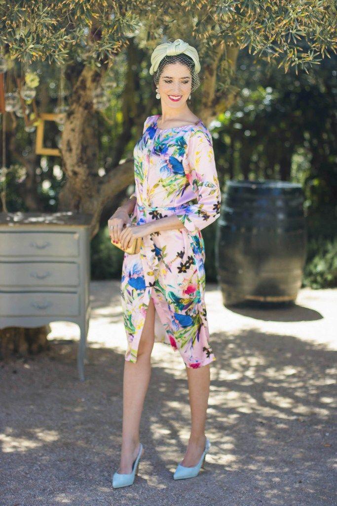vestido camisero estampado invitada boda turbante | vestido azul