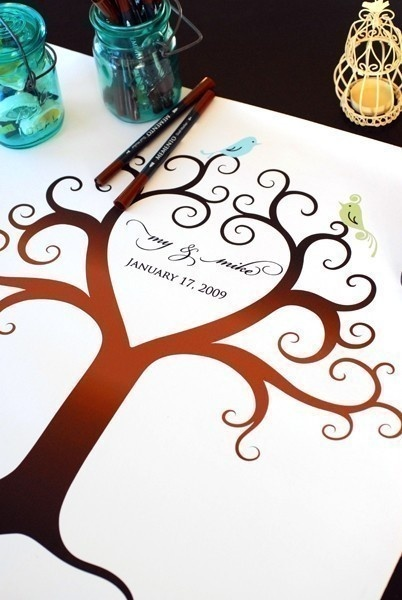 Wedding Guest Book (Medium) Birds of a Feather Fingerprint Tree Canvas THE KIT (guestbook, ink pads, pens). Custom your guest book based on # of your guests! Starting at $170.
