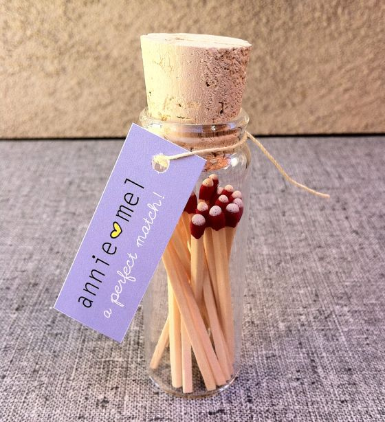Wedding favour matches. Find more wedding favour ideas here http://raspberrywedding.com/category/raspberry-wedding/decoration/stationeryandfavours/