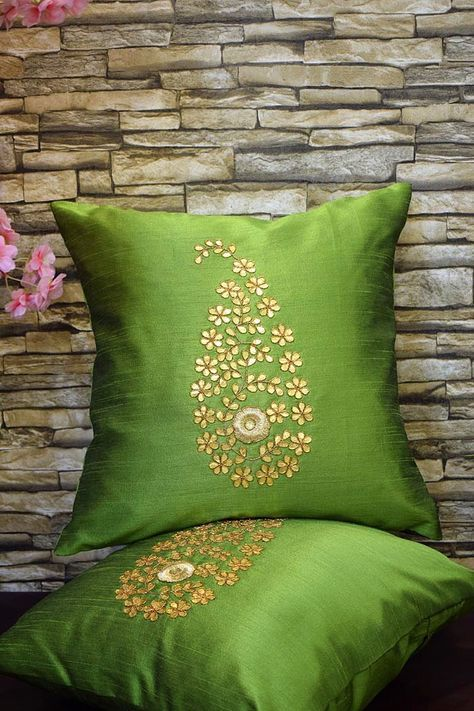 PREMIUM QUALITY Golden Leaf (Gotta Pati) Hand Embroidery 'OLIVE GREEN' Cushion Covers - Royal DecoFurnishing