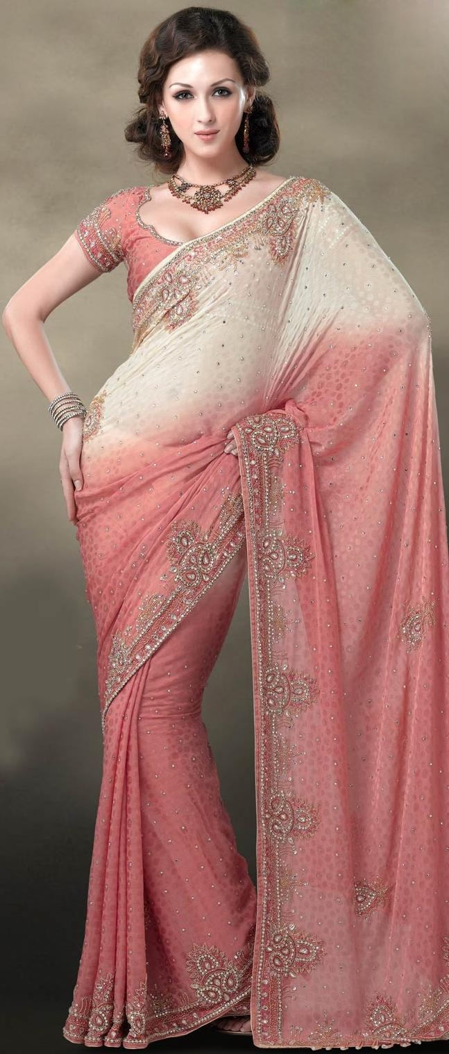 Cream and Rose Crepe Jacquard Saree