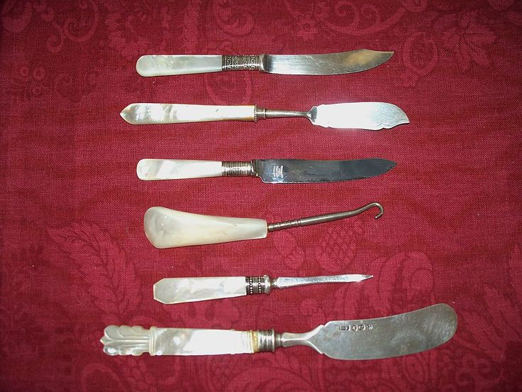 Collection of Six Antique Mother of Pearl Sterling & Sheffield Knives,etc.