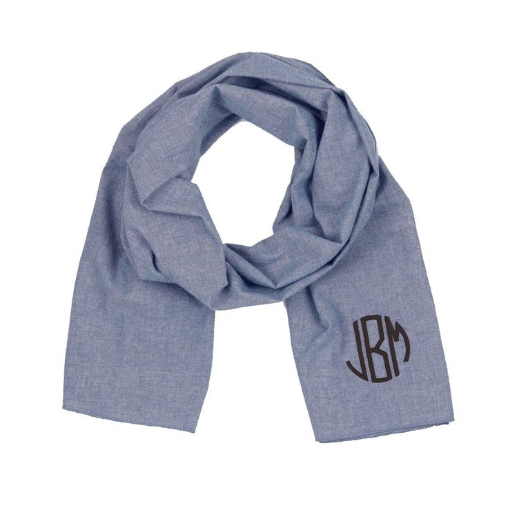 Monogram Scarf, Chambray Scarf, Monogrammed Scarf, Bridesmaid gift, Monogrammed gifts, Christmas gifts by PoshPrincessBows1 on Etsy