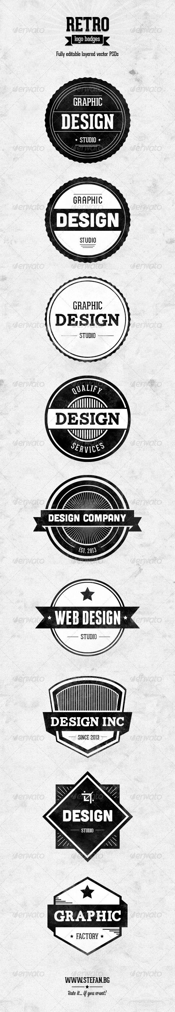 Retro Logo Badges - Badges & Stickers Web Elements