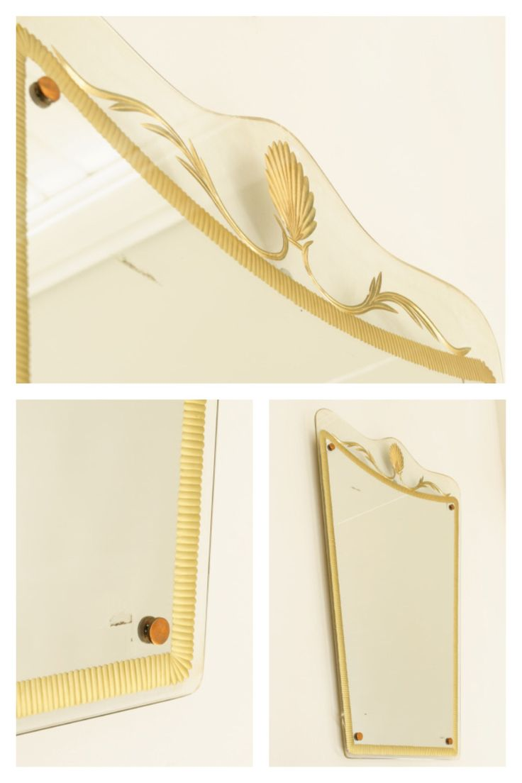 Italian frameless mirror with gilded etching.