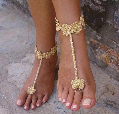 Beach wedding barefoot sandals Handmade by Solacey