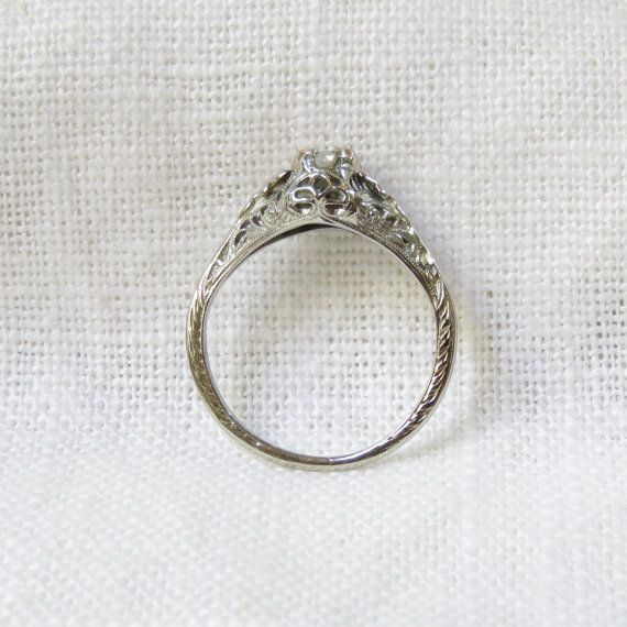 Vintage 18k Gold Diamond Enagement Ring by MagpieVintageJewelry  (Lily: I really really really love this love)