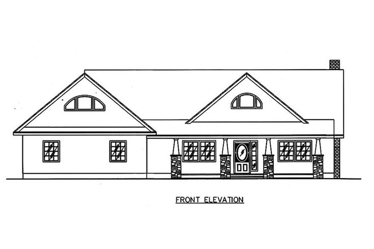132-1651: Home Plan Front Elevation