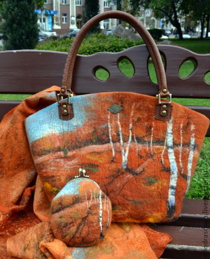 Felted handbag, scarf and purse.