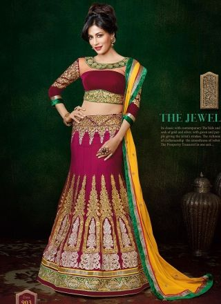 Chitrangada Singh Bright Pink And Yellow Wedding Lehenga Choli http://www.angelnx.com/