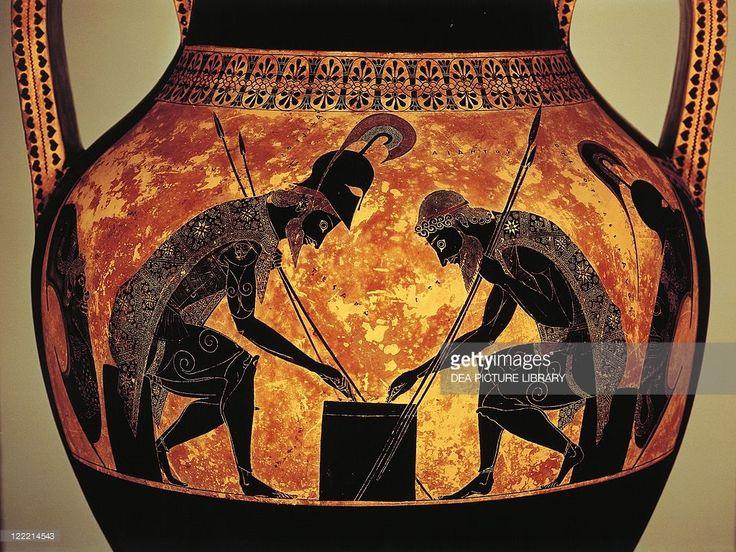 Greek civilization, 6th century b.C. Black-figure pottery. Attic vase of Exekias depicting Achilles and Ajax playing dice. Detail.