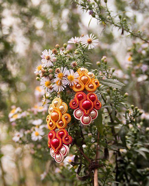 Bash-arT / Waldfee/ red soutache earrings
