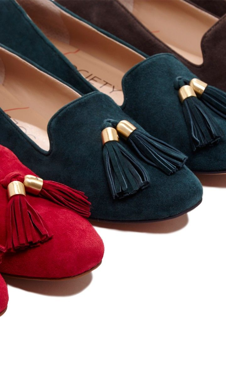 Luxurious suede loafer with tassel detail. so cute