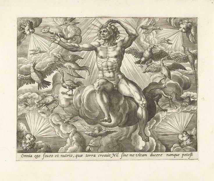Adriaen Collaert   Lucht, Adriaen Collaert, Maerten de Vos, Gerard de Jode, 1580 - 1584   Het element lucht, gepersonifieerd door een naakte man die in de wolken zit. Hij is omringd door vogels en vliegende insecten. In zijn hand houdt hij het symbool van lucht, de kameleon, vast. In elke hoek van de prent de vier winden, als hoofden die met bolle wangen blazen. De prent heeft een Latijns onderschrift. De prent is deel van een vierdelige serie over de vier elementen.