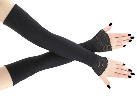 Black long fingerless gloves arm warmers gothic by FashionForWomen