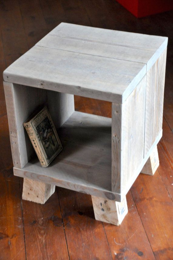Reclaimed Rustic Bedside Side Table Nightstand Small Coffee End Table Scaffold Board Industrial Furniture Custom Sizes And Colour Options Vintage Industrial Furniture Pallet Furniture Bedroom Pallet Furniture