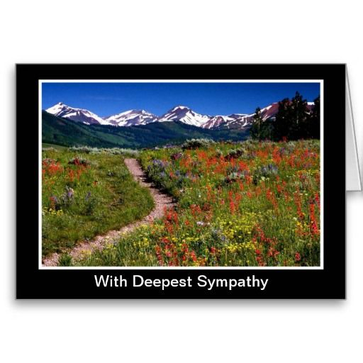 With sympathy card with mountains and flowers