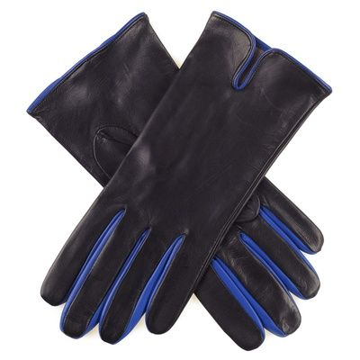 Ladies Black and Blue Silk Lined Leather Gloves to Buy Online