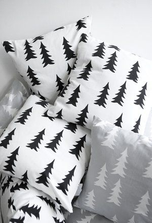 black and white tree pillows