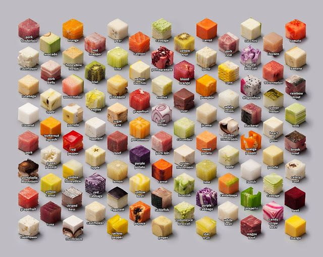 DESIGN FETISH: Artists Cut Raw Food Into 98 Perfect Cubes